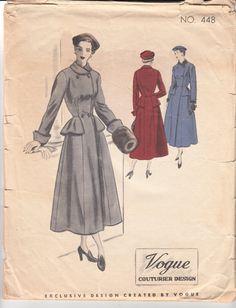 Vintage Sewing Pattern Ladies' Coat 1940's Vogue by Mrsdepew