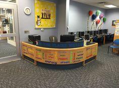 the newly decorated childrens circulation desk at cfpl library designlibrary - Library Circulation Desk Design