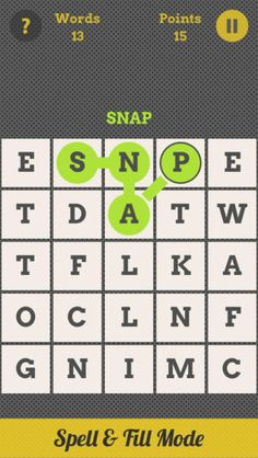Spell Grid : Swipe Letters, Spell Words ($0.00) Swipe over the letters in the grid to spell as many words as you can. Discover 3, 4, 5, 6 & 7-letter words.  3 game modes:  -- Spell Grid - 3 x 3 grid ---- Spell & Fill - 5 x 5 grid -- -- Grid Factory - 3 x 3 grid -- Create and play your own grids. + Dictionary : check the meaning of each word at the end of a game @bridgingapps review here http://bridgingapps.org/app/?id=603911137