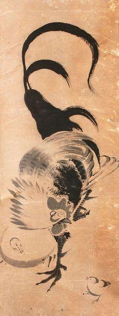 """Chickens"" by Ito Jakuchu, Style: Ukiyo-e Nocturne, Composition Painting, Tinta China, Chicken Art, Japanese Prints, Japanese Style, Japanese Painting, Japan Art, Gravure"