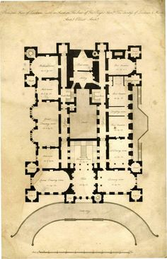 Architect's Plan of Loudoun Castle 1805 principal floor