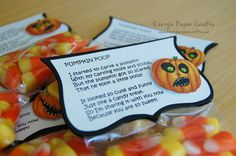Pumpkin Poop Halloween Treats with Candy Corn and a cute poem. Halloween Treat Bags, Halloween Cards, Holidays Halloween, Spooky Halloween, Happy Halloween, Halloween Decorations, Holiday Crafts, Holiday Fun, Holiday Candy
