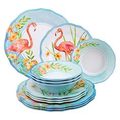 Gourmet Art 12-Piece Flamingo Melamine Dinnerware Set Sup...