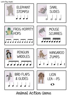 This Animal Actions Rhythm Game is the perfect way to get things moving and practice listening skills at the same time. Kids always love pretending to be different animals so this is a game that'll get everyone engaged while learning to recognise their no Elementary Music Lessons, Music Lessons For Kids, Music Lesson Plans, Music For Kids, Piano Lessons, Preschool Music Activities, Music Education Activities, Elementary Schools, Movement Activities