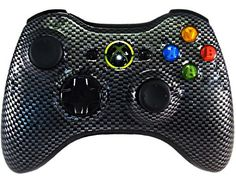 Hydro Dipped Controllers Xbox360 Black Carbon Fiber