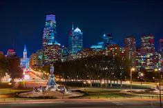 Philadelphia's skyline at night from the Benjamin Franklin Parkway. (Credit G. Widman for GPTMC)