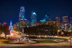 Philadelphia's skyline at night from the Benjamin Franklin Parkway. (Credit G. Widman for GPTMC)