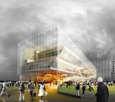Helsinki Central Library Competition Entry by STL Architects (Project Team: (Principals) Jose Luis de la Fuente, Luis Collado; Jose Luis Perez-Griffo, Ruben Cabanillas, Marta Bueno, Eduardo Ponce) - Helsinki, Finland