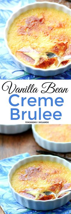 Vanilla Bean Creme Brulee by Noshing With The Nolands is a rich, creamy, decadent dessert that is easier to make than you may think. Desserts To Make, Dessert Recipes, Brulee Recipe, Flan, Sweet Recipes, Cooking Recipes, Cupcakes, Yummy Food, Favorite Recipes