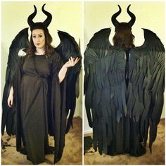 maleficent halloween costume! handmade. the wings were made from scratch!!