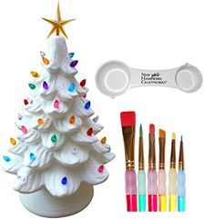 Large Traditional Lighted Christmas Tree, 6 Paintbrushes and Measuing Spoon Set - Cord, Lights and Bulb Included - Paint Your Own Christmas Tree * Check out this great product.