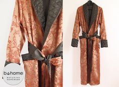 Mens Dressing Gown XS-5XL Jacquard Silk Luxury Morning Robe Housecoat Shawl Collar Breast Pocket quilted Dark Green Baroque pattern Gold Red