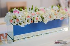 Rose quartz ,white and green mirror centrepiece.Perfect for grooms table Grooms Table, Wedding Centerpieces, Rose Quartz, Pink Quartz, Wedding Bouquets, Wedding Centrepieces