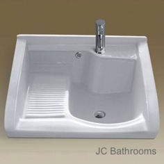 -Ceramic Laundry Sink With Washboard Laundry Room Sink, Laundry Tubs, Laundry Room Remodel, Basement Laundry, Laundry Room Design, Small Laundry Sink, Laundry Room Utility Sink, Küchen Design, House Design