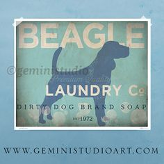Beagle laundry company dog laundry room artwork giclee archival signed artists print by Stephen Fowler by geministudio on Etsy https://www.etsy.com/listing/124727161/beagle-laundry-company-dog-laundry-room
