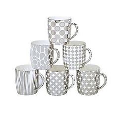 Certified International Elegance Silver Plated Assorted Barrel Mugs Set of 6 Espresso Cups Set, Coffee Cups, Earthenware, Stoneware, Christmas Dishes, Gold Pattern, Mugs Set, Ceramic Mugs, Silver Plate