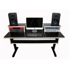 Tiered music workstation that offers more desk space, since the midi slides under.