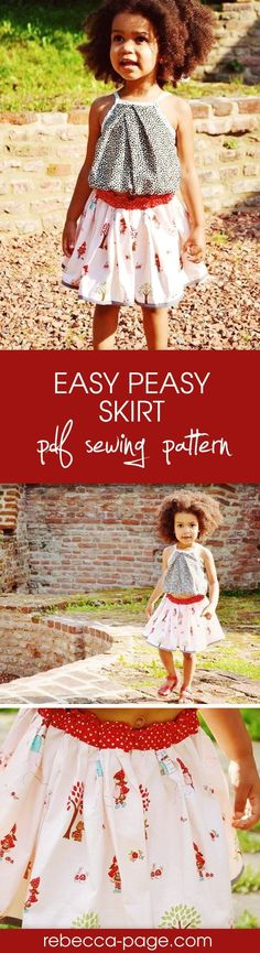 This Easy Peasy Skirt PDF sewing pattern will teach you how to make a super easy & super cute skirt for a girl, baby or toddler sizes newborn to 12 years.  A very simple, easy to sew pattern, it's suitable from beginner sewing level. You can either print the pattern pieces, or there's also a cutting chart so you can cut straight from the measurements (no printing) if you prefer. With a back-to-school suitable knee-length option or just-above-the-knee.