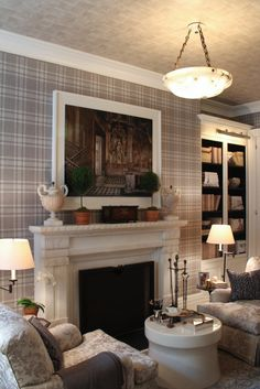 Contrasting plaid walls and ceiling in the living room