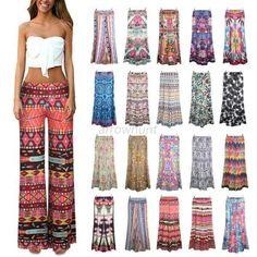 Fashion Women Loose Stretch High Waist Wide Leg Long Pants Palazzo Trousers S-XL #unbrand #CasualPants