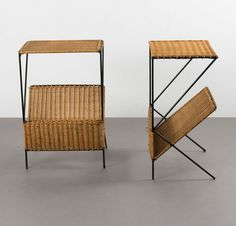 Carl Auböck Attributed; Enameled Iron and Wicker Side Tables, 1950s.