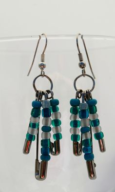 Beaded Dangle Safety Pin Earrings by nightdayaccessories