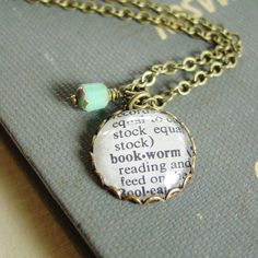 Perfect for my daughter! Bookworm Necklace Dictionary Definition Brass Word by PearlieGirl, $21.00