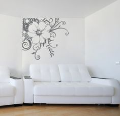 Large Swirled Bohemian Flower Decal for Corner in Living Room, Home, Dorm or Bedroom