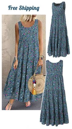 Bohemian Maxi Dress - Wall Tutorial and Ideas Casual Dresses, Fashion Dresses, Summer Dresses, Maxi Dresses, Summer Clothes, Fashion Shoes, Dress Sewing Patterns, Skirt Patterns, Blouse Patterns