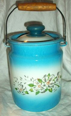 Vintage Blue Milk Pail with Lid by AtomicTreasureHunter on Etsy