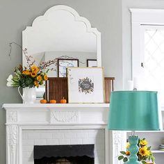 Swap out your mantel decor for something more festive for fall and Halloween. These cheap ideas use decor pieces you probably already have. Use fresh flowers, pumpkins, fall banners and rustic accents to transition your mantel to fall.