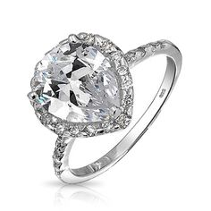 Bling Jewelry Sterling Silver Butterfly Cutout Teardrop CZ Engagement Ring  Shop Bling Jewelry Engagement Rings: https://blingj.me/2eYBj3z