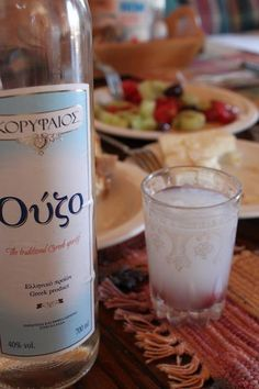 Ouzo.  Traditional Greek drink.