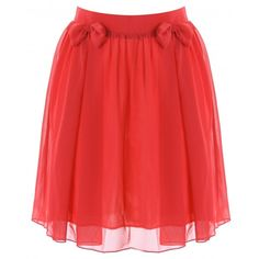 LOVE Red Bow Skirt ($66) ❤ liked on Polyvore featuring skirts, bottoms, saias, faldas, red skirt, bow skirt and red knee length skirt