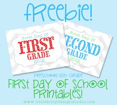 Back to School first day printables! www.littlebittyde...