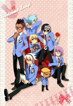 Black⭐star, Death The Kid, Soul Evans, Maka Albarn, Crona Gorgon, Kilik Rung, Thunder, Hosts, group; Soul Eater, Ouran Highschool Host Club