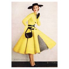 1952 vintage fashion style yellow dress full skirt black white plaid checks accents hat shoes belt purse 50s