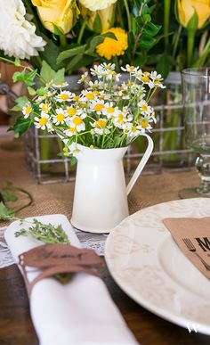 A gorgeous table setting for a rustic woodland wedding theme. Such a beautiful way to tie in the warm summer colors and keep true to natural beauty.