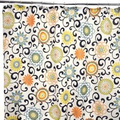 Waverly Traditions by Famous Home Fashions Pom Pom Play Confetti 100-Percent Polyester Shower Curtain