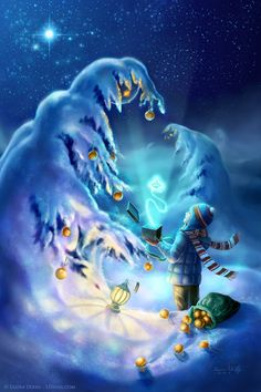 Celestial Gift - A magical fantasy painting by Laura Diehl (LDiehl.com).  A boy…