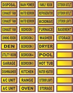 Electrical Circuit Breaker Waterproof Decal Labels Vinyl 44 Decals Included In Set Peel
