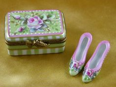 Shoe box w/shoes - Victoria.. - Porcelain Limoges from France - Limoges Factory Co.  $528.00