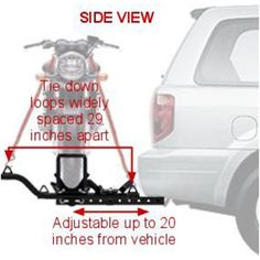 Dimensions of the motorcycle carrier on hitch.