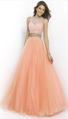 Peach Two Piece Long Prom Dresses Beaded Scoop #prom #promdress #dress #eveningdress #evening #fashion #love #shopping #art #dress #women #mermaid #SEXY #SexyGirl #PromDresses