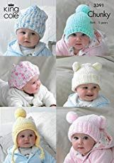From King Cole 6 Baby Hats Comfort Chunky Knitting Pattern 3391 By King ColeBaby Knitting Patterns - lupin and rose - Diane Manuel -Baby Knitting Patterns FREE UK ddelivery on orders over Knitted Hats Kids, Baby Hats Knitting, Kids Hats, Free Knitting, Knitting Yarn, Crochet Baby Beanie, Knitted Bags, Crochet Hats, Baby Helmet