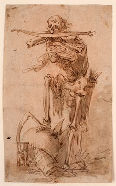 """Filippo Napoletano (Filippo Liagno), """"Death with a Crossbow"""" (1600-29), pen and brown ink and wash, 6 1/2 x 3 15/16 inches (courtesy Blanton Museum of Art, the University of Texas at Austin, the Suida-Manning Collection)"""