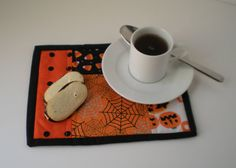 Halloween Mug Rugs Set of 2 by AkitaMomStudios on Etsy