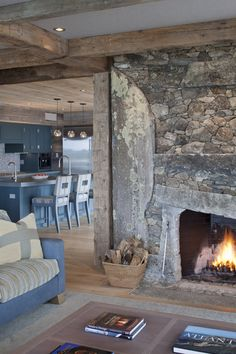 The Nest Hutker Architects — Martha's Vineyard, Cape Cod and Nantucket Fireplace Hearth, Home Fireplace, Fireplace Design, Space Architecture, Residential Architecture, Stone Masonry, Stone Fireplaces, Bungalow Extensions, Stone Houses