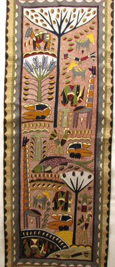 Africa | Wall Hanging: Three Trees. Kaross Textiles; Hand embroidered from the Shangaan tribe of Limpopo Province, South Africa. It celebrates the culture and traditions of the Shangaan.