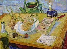 Stilleven met uien, 'Annuaire se la Santé' en andere voorwerpen (1889), Vincent van Gogh